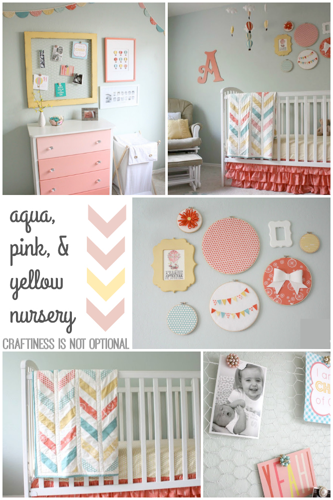 aqua, pink, and yellow nursery