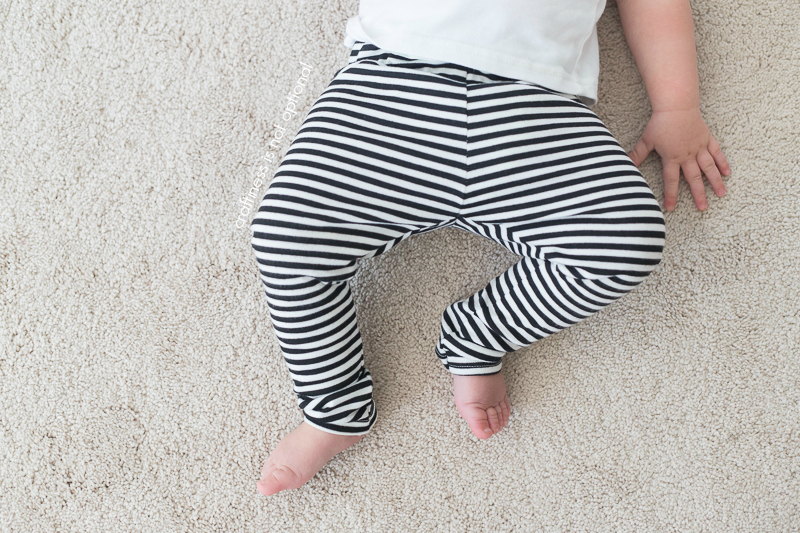 overhead view of striped leggings by craftiness is not optional