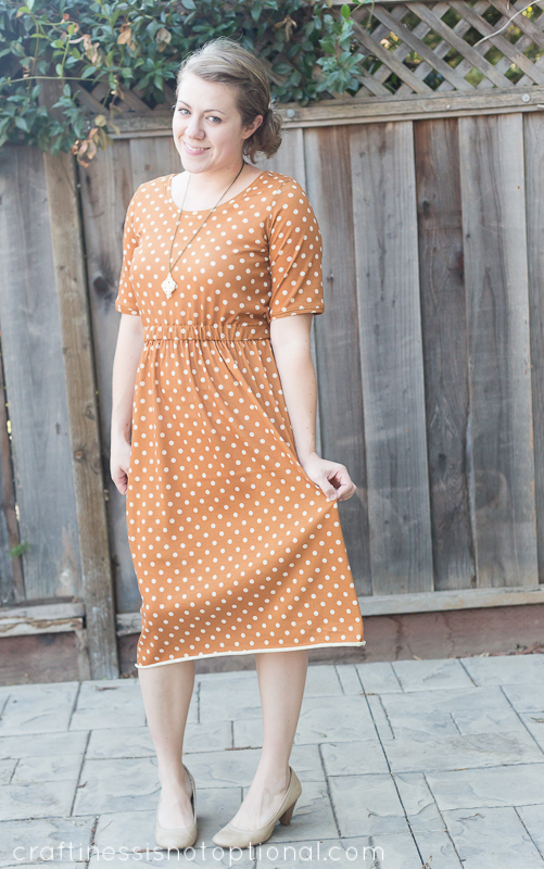 knit mustard polka dot dress by craftiness is not optional