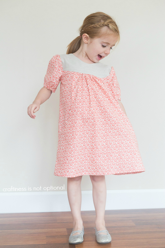 coral leaf dress sewn by craftiness is not optional