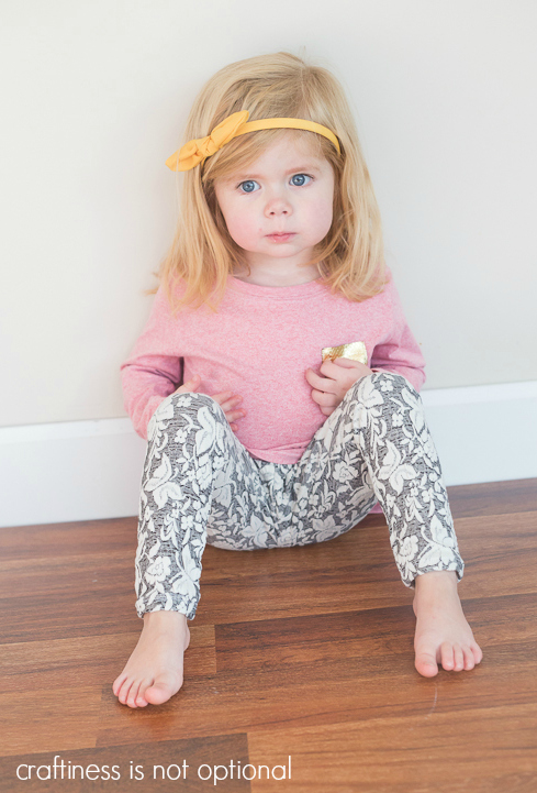heathered red nessie top and butterfly leggings sewn by craftiness is not optional