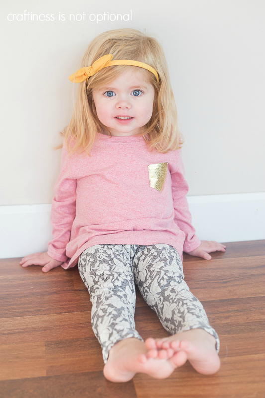 heathered red nessie top and grey and white leggings sewn by craftiness is not optional