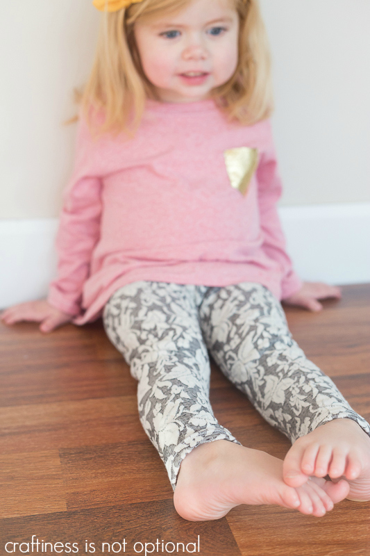 heathered red nessie top and grey leggings sewn by craftiness is not optional