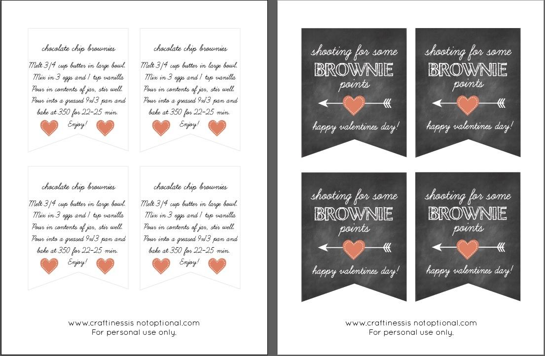 picture regarding Shooting for Brownie Points Free Printable called brownie blend valentine reward cost-free printable