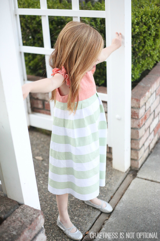 mint and coral geranium dress
