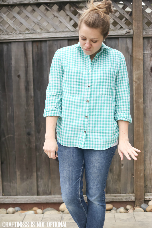 teal checked archer shirt