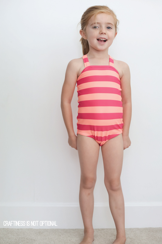 striped cosi criss cross strap swimsuit