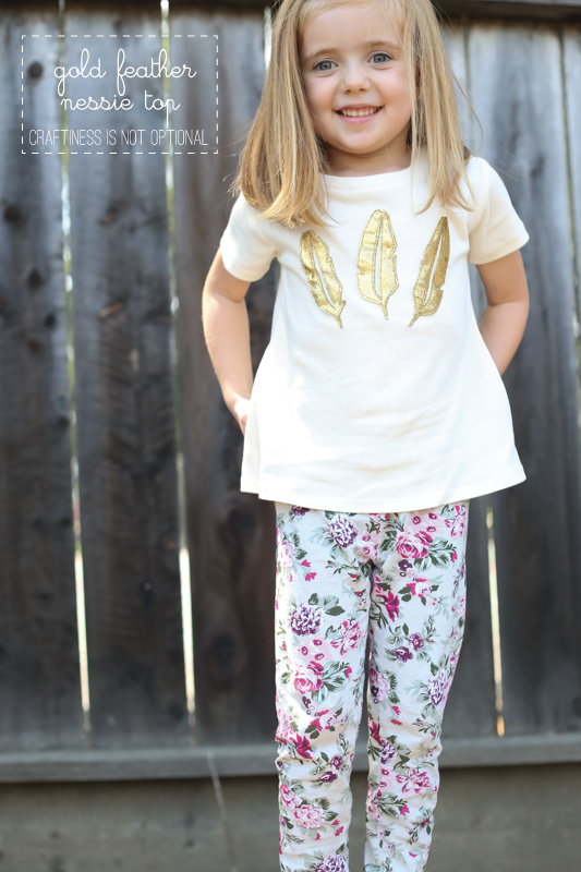 gold feathered Nessie top-made with a silhouette cameo!