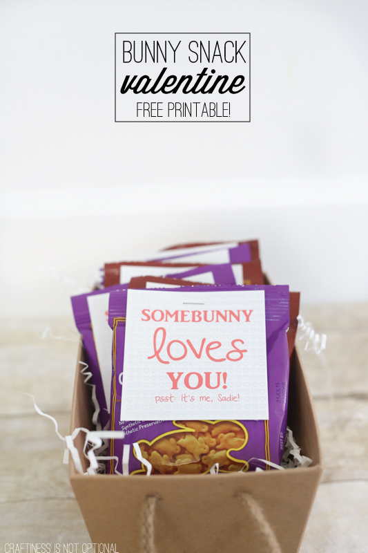 easy and healthy DIY valentines-with FREE printable! So easy-just staple the tag onto a bag of Annie's bunny snacks!