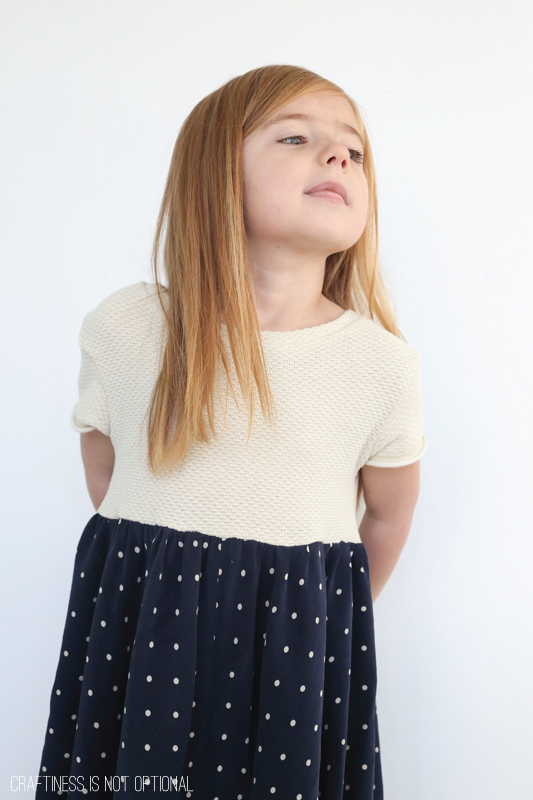 kids clothes week upcycled navy dot dress