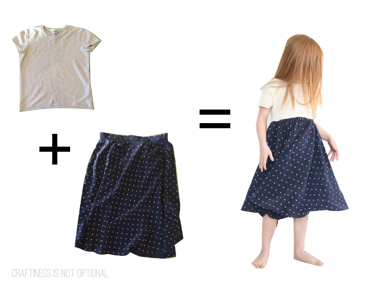 kids clothes week upcycled navy dot dress before and after