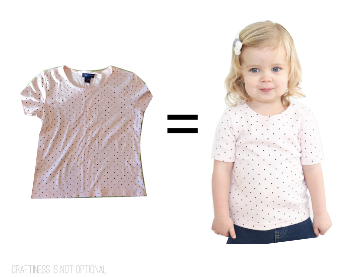upcycled polka dot tee before and after
