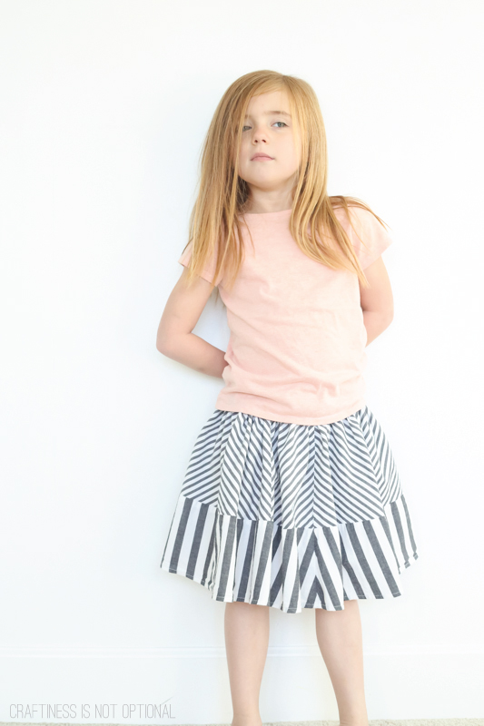 Kids CLothes Week-upcycled striped skirt