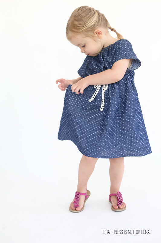 polka dot chambray peasant dress