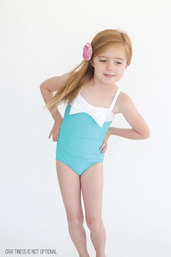 aqua and white swimsuit