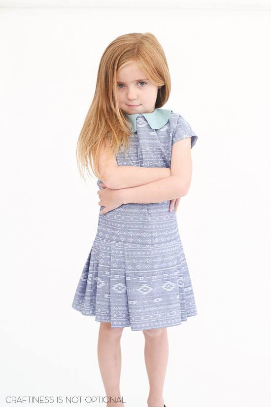 The Maren Dress Pattern for Sew What Club! Stylish dropwaist dress with an adorable collar and pleated skirt!
