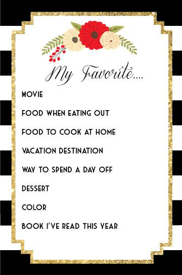 favorite-things-questionairre