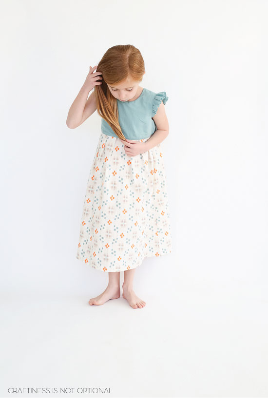 aqua and orange geranium dress
