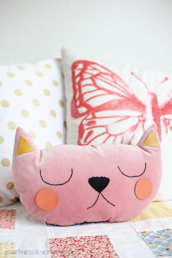 pink velvet kitty pillow