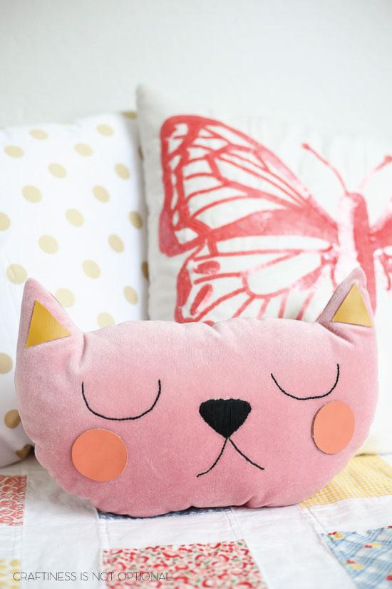 pink velvet kitty pillow