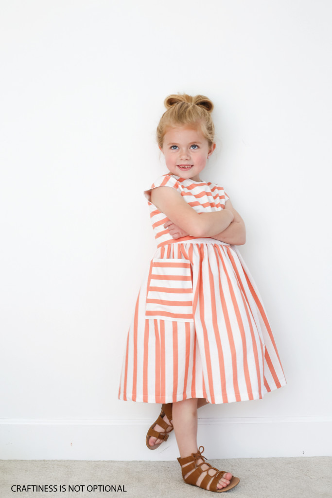 striped coral dress