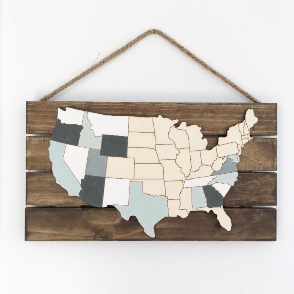 wooden usa map